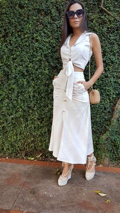 #Linho #Trend #Love Classy Summer Outfits, Summer Dress Outfits, Spring Outfits, Casual Outfits, Cute Outfits, Cute Dresses, Short Dresses, Check Dress, African Fashion