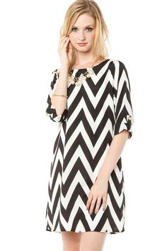 ShopSosie Style : Essential Zig Zag Shift Dress in Classic