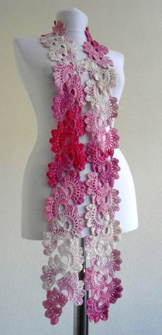 Crocheted Pink and white Bamboo Lace by likeknitting on Etsy