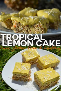 This tropical lemon cake is perfect for a summers day. It's raw, gluten free, dairy free, no bake so very easy and quick to make. via @nestandglow