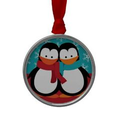 Cute Christmas Penguins Ornament