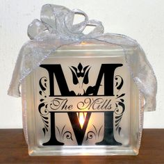 Monogram Family Name Lighted Glass Block - Personalized, Customized, Wedding Gift