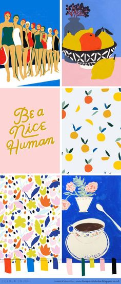 "I couldn't resist sharing these super summery, delicious little collages from Love Print Studio's ""Color Crush"" Series. Palettes Color, Colour Schemes, Color Patterns, Print Patterns, Colour Combinations, Branding, Graphic Design Inspiration, Color Inspiration, Illustrations"