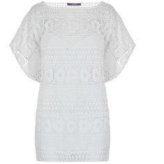Laurel Lace Kaftan Top (120 AUD) ❤ liked on Polyvore featuring tops, tunics, white, lace kaftan, white sleeveless tunic, white top, white lace kaftan and white kaftan