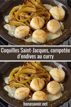 Coquilles Saint-Jacques, compotée d'endives au curry – Page 2 – Bon À Savoir Coquille St Jacques, Le Curry, Jus D'orange, Saint Jacques, Bowl, Cereal, Chicken, Breakfast, Desserts