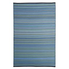 Blue/Multicolor Polypropylene Stripe Indoor/Outdoor Reversible Area Rug (5' x 8') (SPL1099_5x8_BlueStr), Size 5' x 8'