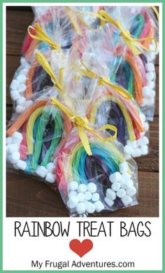 Rainbow treat bags for children-- so perfect for parties, St Patrick's Day, sports and more!
