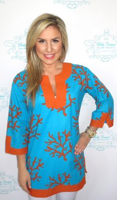 LOVING these new Beach tunics   Coral Reef Tunic $48