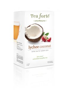 Lychee Cocnut Skin Smart Eco Teabags - Radient skin white tea. Rare white tea with the exotic tropical notes of sweet lychee and the intoxicating fragrance of fresh cut coconut. Each box contains 16 tea bags.