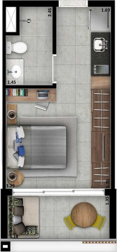 Studio Apartment Floor Plans, Apartment Plans, Apartment Design, Resort Interior, Small Studio Apartments, Hotel Room Design, Compact House, Minimalist Home, Renting A House