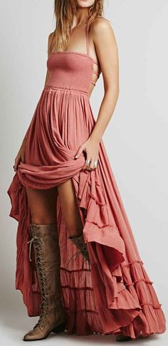 Tiered Backless Maxi Dress