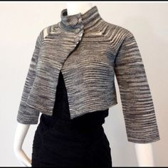 Dolce Cabo Jacket size 6 Grey, black, and white metallic fabric. Excellent condition. Size 6. Dolce Cabo Jackets & Coats Blazers