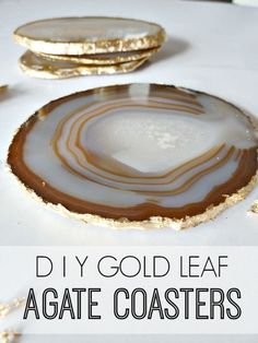 DIY Gold Leaf Agate Coasters via Bliss at Home KZnote: I have thunder agate slices. Adding the gold leaf would just add to the beauty. Feuille D'or, Agate Coasters, Diy Coasters, Creation Deco, Ideias Diy, Gold Diy, Crafty Craft, Crafting, Resin Crafts