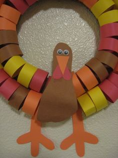 paper toliet rolls thanksgiving crafts | Turkey Paper Chain Wreath Thanksgiving Turkey Crafts for Kids: Popular ...