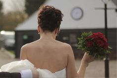 GlamFusion Hairdressing - Google+ Beautiful bride on her wedding day with hair my Beautiful Bridal Hair @ Glamfusion hairdressing   Bridal hairstyle  red roses  wedding day  hair up