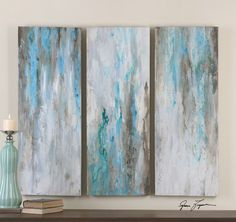 Uttermost Smokey Art. Vibrant, hand painted artwork on canvas stretched over a wood frame. Due to the handcrafted nature of this artwork, each piece may have subtle differences.