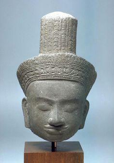 Head of a male deity  Place of Origin:Cambodia  Date:approx. 1175-1225  Materials:Sandstone  Dimensions:H. 6 1/2 in x W. 4 in, H. 16.5 cm x W. 10.2 cm