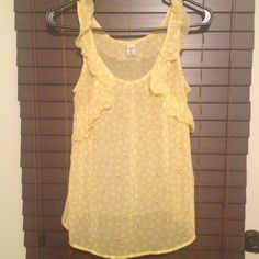 Yellow sheer top Sheer top with ruffles on from sides . Old Navy Tops