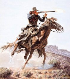 Artwork by Joe Grandee, A Fast Shot, Made of Watercolor and Gouache on Board Films Western, Western Art, Western Cowboy, Westerns, Cowboy Pictures, Cowboy Horse, Cowboys And Indians, Le Far West, Mountain Man
