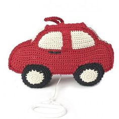 Red Crochet Car Music Box By Anne-Claire Petit.