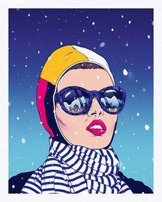 snow Illustration art lady sunglasses woman elegant Andrew Archer
