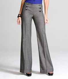Kumaş Pantolon Modelleri Bol Paça Kumaş Pantolonlar Pictures Skirt Pants, Trouser Pants, Wide Leg Pants, Gray Pants, Pants Outfit, Work Fashion, Fashion Pants, Fashion Outfits, Fashion Design