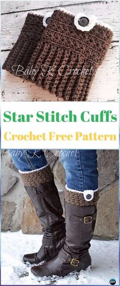 Crochet Fox Patterns: Crochet Star Stitch Boot Cuffs Free Pattern Source by crochet_attic Crochet Fox, Crochet Star Stitch, Crochet Gratis, Crochet Stars, Crochet Boots, Crochet Gloves, Crochet Slippers, Free Crochet, Beginner Crochet
