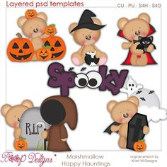 Marshmallow Happy Hauntings Element Templates by Kristi W, Halloween fall spook commercial use digital graphics clip art scrap scrapbooking
