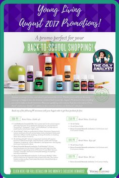 August 2017 Freebies!  Check them out at www.theoilyanalyst.com/current-promotions/!  Ready to join? Go to www.YL.pe/gcz today! | Young Living | Essential Oils | Freebies | Promotions | Promos | August 2017 | Kidscents | Lemon Vitality | Clarity | Envision | Citrus Fresh | Back to School | The Oily Analyst | theoilyanalyst.com