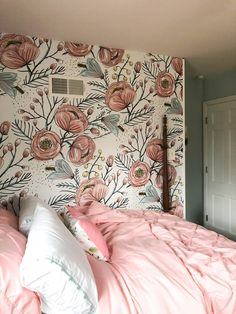 this vintage rose floral wallpaper accent wall is PERFECT for a girl nursery or an accent wall in a big girl room