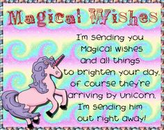 Send magical unicorn wishes to friends who believe. Free online Magical Wishes ecards on Everyday Cards Morning Hugs, Morning Wish, I Think Of You, Told You So, Healing Wish, Unicorn Cards, Warm Hug, Wishes For You, Magical Unicorn