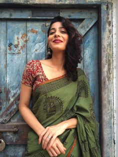 Army Green Kala Ghoda Hand Block Printed Mul Cotton Saree