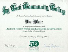 Don Winter Professor Associate Faculty Award for Excellence in Instruction   http://www.donwinterprofessor.com/award-for-excellence.html