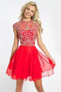 Unique A-line Scoop Cap Sleeves Beading Short/Mini Chiffon Prom Dresses [2015PC-1268] - $ 159.99 :