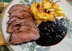 """Svéd """"Tjälknöl"""" (nagyon!) lassan sült marha fűszeres pácban, portói mártással, csőben sült burgonyával (gratin)"""