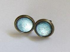 Galaxy Glass Glitter Dome Earrings  Blue by TheScarlettGypsy, $12.00