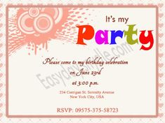 vector birthday invitation editable party ideas pinterest