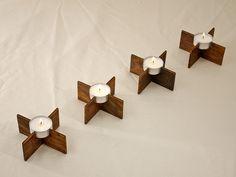 Teelichthalter aus Holz,hochwertig Design 4 Stück von Schlueter-Home-Design auf DaWanda.com