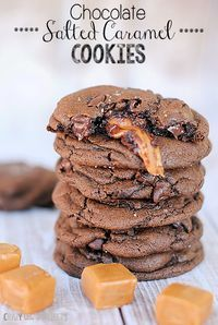 Chocolate Salted Caramel Cookies - It's a chocolate cookie with caramel stuffed inside and then sprinkled with salt. It's soft and chewy and melty and chocolately.
