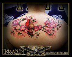 Brandi Egbert (Ink Well Tattoo): Cardinals on Dogwood Branch Cardinal Bird Tattoos, Red Bird Tattoos, Feather Tattoos, Flower Tattoos, Cardinal Birds, Trendy Tattoos, New Tattoos, Tattoos For Guys, Tattoos For Women