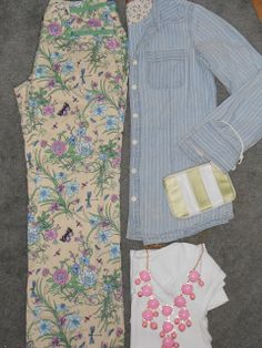 Compass Lane Chic: Spring Outfits - floral pants, chambray, white tee and statement necklace
