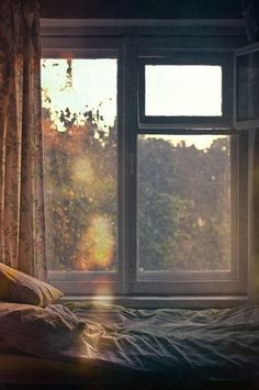 light through the window, a soft bed Window View, Open Window, Window Art, Window Seats, Through The Window, Morning Light, My New Room, Light And Shadow, Scenery