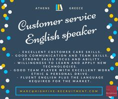 Customer service #job based in #Athens #Greece for #English speaker.  Send your CV at marc@highfive-recruitment.com  #jobingreece #highfiveyourcareer #highfiveyourjob #recruitment #hiring #career #greatjob #customerservice #customerserviceadvisor #candidate #opportunity #business #clientservices #success