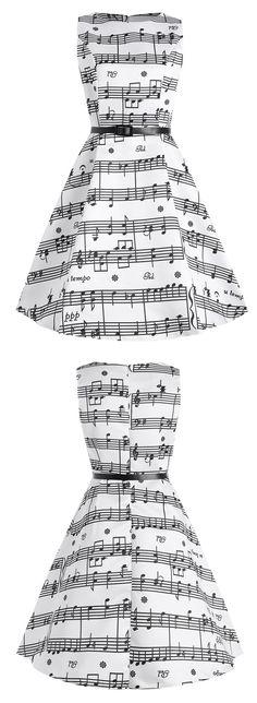 Sleevelesss Plus Size Music Pattern 1950s Dress