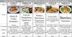 Menú Vegetariano del 27 al 31 de Enero de 2014