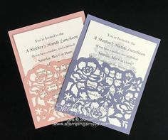 Make wedding invitations or make luncheon invitations with the Stampin' Up! Floral Phrases Stamp Set and Stampin' Up! Detailed Floral Thinlits Dies Floral Phrased invitation idea by Shelly Godby of www.stampingsmiles.com