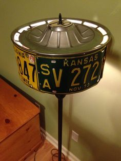License plate hubcap floor lamp - Home Decor -DIY - IKEA- Before After License Plate Crafts, Old License Plates, License Plate Art, License Plate Ideas, Car Part Furniture, Automotive Furniture, Automotive Decor, Furniture Plans, Kids Furniture
