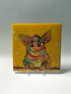Alcohol Ink Art Painting Of Pig, Watercolor of Bardyard Animals, Acrylic… Alcohol Ink Tiles, Alcohol Ink Painting, Watercolor Animals, Watercolor Art, Resin Uses, Animal Paintings, Oil Paintings, All Art, Art Projects