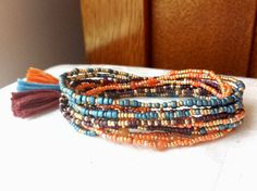 Morocco Long Seed Bead Wrap Bracelet Necklace on Stretch Cord
