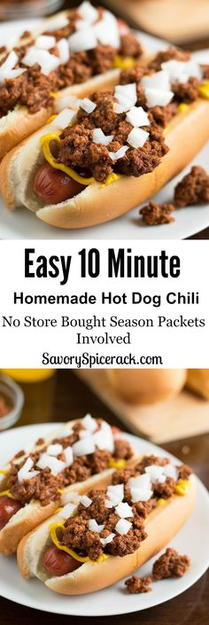 Easy Homemade Hot Dog Chili. A simple homemade chili recipe that brings your hot dogs to life with it's burst of chili flavor in every bite.  And I didn't use any store bought chili seasoning packets!